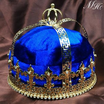 "Blue Velvet Imperial Medieval Crowns Fleur De Lis 6.5"" King Full Round Gold Tiaras Pageant Party Costumes For Men"