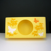 Yellow Plastic Tissue Box, Retro Tissue Holder, circa 1960-70s, Butterflies and Leaves, Vintage Vanity, Price Includes USA Shipping