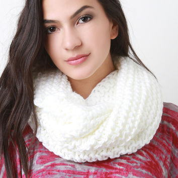 Loose Knit Double Layer Neck Warmer Scarf