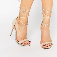 Missguided Lace Up Barely There Sandal at asos.com