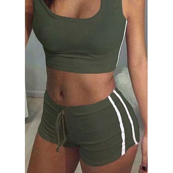 New Summer Women Sets Cropped Tops Shorts Set 2 Pieces