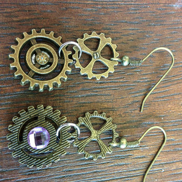 Steampunk Pink Rhinestone Earrings