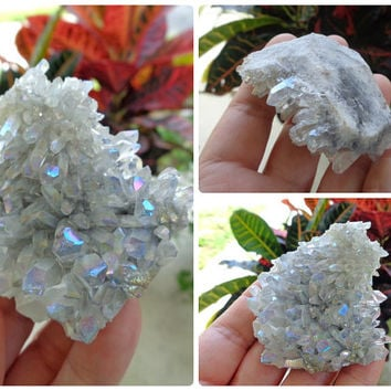 Angel Aura, Rainbow Aura, Opal Aura Quartz Crystal Cluster - 2.9 oz - Cleansing Crystal, Meditation Crystal, Healing Crystal - 98121