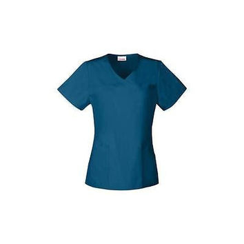 Vital Threads Women's Front Yoke Scrub Top, Medium, Caribbean Blue, 77957