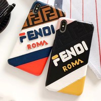 Fendi color stitching IPHONE phone case