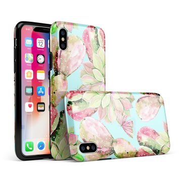 Watercolor Cactus Succulent Bloom V3 - iPhone X Swappable Hybrid Case