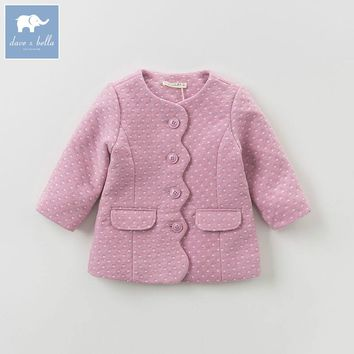 DB5835 dave bella autumn infant baby girls fashion solid clothes kids toddler coat lolvely children wool coat