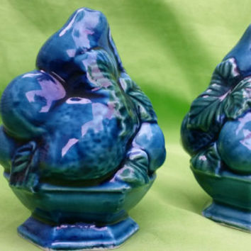 Vintage Salt & Pepper Shakers Set Inarco Japan Mood Indigo Blue
