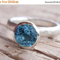 SALE 10% OFF blue topaz ring 7mm natural swiss blue topaz gemstone ring stackable stacking ring solitaire recycled sterling silver handmade