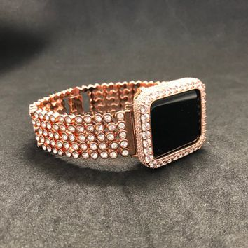 38mm 42mm Apple Watch Band Womens Mens Rose Gold Rhinestone Series 1 2 3/Iced Out Bezel Case Cover 2mm Lab Diamonds Rhinestone Crystal Bling