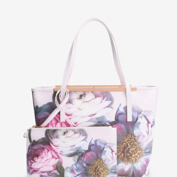 Floral print leather shopper bag - Pale Pink | Bags | Ted Baker UK