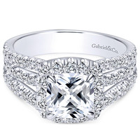 "Gabriel ""Sabrina"" Cushion Halo Three Row Diamond Engagement Ring"