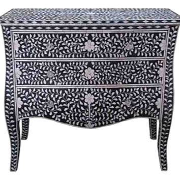 Bone Inlay Furniture - Black Moroccan Dresser Sideboard Three 3 Drawers & Curved Legs / Credenza | Free Shipping