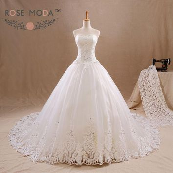 Sweetheart Lace A Line Wedding Dress Crystal Beaded Lace Corset Wide Lace Hem Vestidos de Noiva Real Photos
