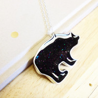 Ursa Minor Necklace - Black Glitter Galaxy Bear Pendant
