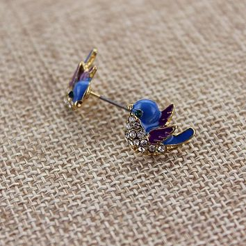 Woman Blue Bird Gold Alloy Earrings