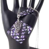Jewelry set, matching pendant handmade from purple and black polymer clay by Felicianation