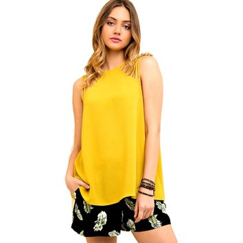 Sleeveless Strappy Detail Top, Honey Mustard