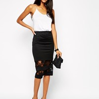 Club L Pencil Skirt with Lace Inserts - Black
