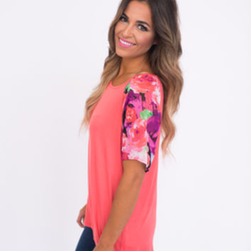 Coral Chiffon Floral Sleeve Top