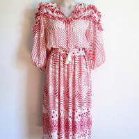 DIANE FREIS!!! Vintage 1980s 'Diane Freis' red and white multi print dress with tie neck and pleated skirt