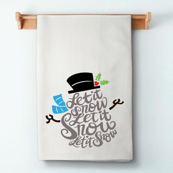 Let It Snow Snowman Flour Sack Towel