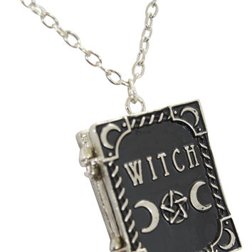 Restyle Gypsy Gothic Dark Magic Witchcraft Witch Book Locket Pendant Necklace