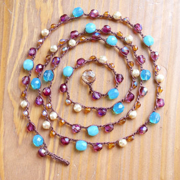 Bohemian crochet long necklace, boho chic jewelry, Blue opal, Violet, Cream Pearls, topaz,