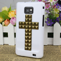 White  Hard Case Cover With bronze Stud For Samsung Galaxy S2 i9100,Samsung Galaxy S 2 II i9100