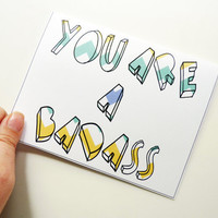 You Are A Badass - Textured Chevron Teal, Blue & Yellow Greeting Card - Congratulations, New Job, Any Occassion