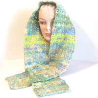 Hand Crocheted Scarf: Variegated Forest Greens and Brown - M0116