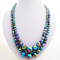 Vintage Carnival Glass Two Strand Faceted Graduated Bead Necklace