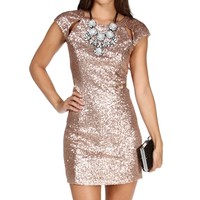 Gold Cutout Short Sleeve Sequin Dress