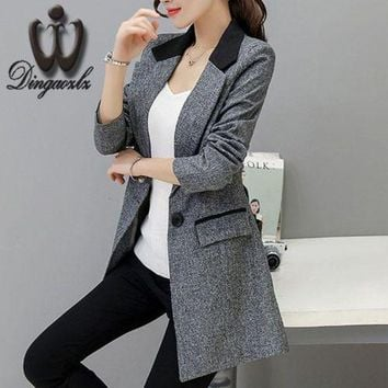 CREYONFI Small suit Jacket female 2017 Spring autumn Slim long style Women blazers Casual fashion Plus size Coat outerwear