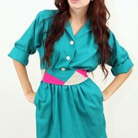 Vintage Teal Mini Dress with High Waisted Belt and Pockets
