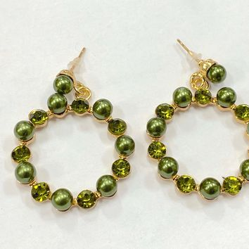 Glamourpus Green Rhinestone and Pearl Hoop Earrings