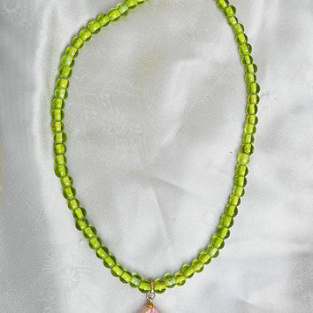 SALE OOAK Choker Necklace Made with Vintage Reverse Carved Lucite Pendant - Hot Pink & Green