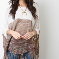 Fringed Hem Multi-Tone Knit Poncho Top