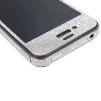 TCD iPhone 5 5S Silver Gray Glitter Full Body Skin Film Clear Screen Protector