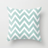 robins egg blue chevron Throw Pillow by Her Art