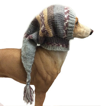 Greyhound snood, Sage green  dog hat, italian greyhound hat, dog clothes, dog clothing, pet hat, lurcher, galgo, whippet, dog snood