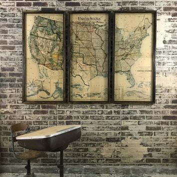 Three Piece Vintage Dept. of the Interior USA Map -- 65-in