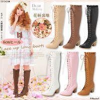 Rakuten: 6cm heel race up long boots- Shopping Japanese products from Japan