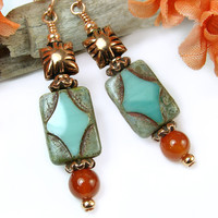 Copper Dangle Aqua Czech Glass Carnelian Handmade Earring OOAK Jewelry