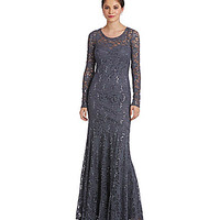 Jump Sequin Lace Long-Sleeve Gown - Gunmetal
