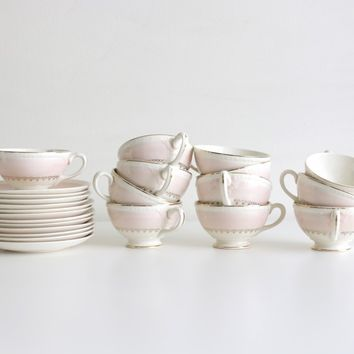 Homer Laughlin Eggshell Georgian Cups And Saucers {Set Of 12}