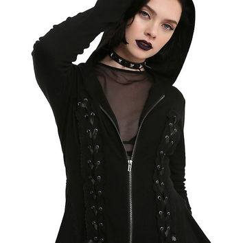 Royal Bones By Tripp Black Lace-Up Girls Hoodie