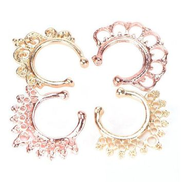 ac PEAPO2Q 12Pcs/Pack Fake Nose Ring No Piercing clicker faux clip non pierced Small Hoop ring Crystal septum Women Body Jewelry