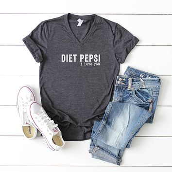 Diet Pepsi I Love You | V-Neck Graphic Tee