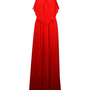 BCBGeneration Women's Solid Chiffon Ruffled Blouson Maxi Dress